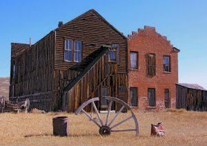 Old West Buildings and Wagon Wheel
