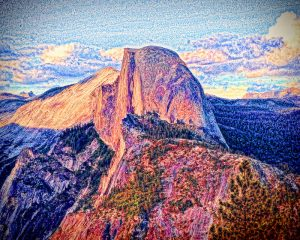 Colorful Half Dome Mountain - Yosemite National Park