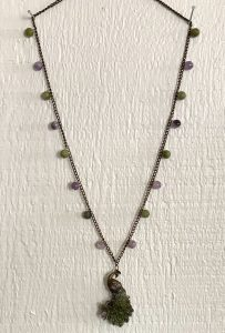 Peacock pendant with jade and amethyst beads